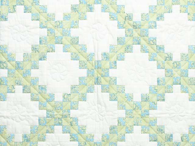 Blue Green and  Gold Irish Chain Quilt Photo 2