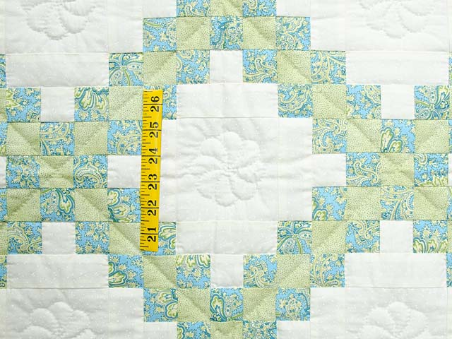 Blue Green and  Gold Irish Chain Quilt Photo 3