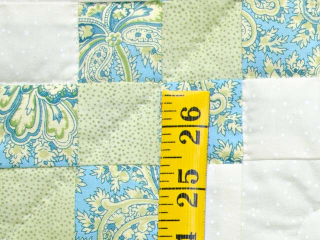 Blue Green and  Gold Irish Chain Quilt Photo 4