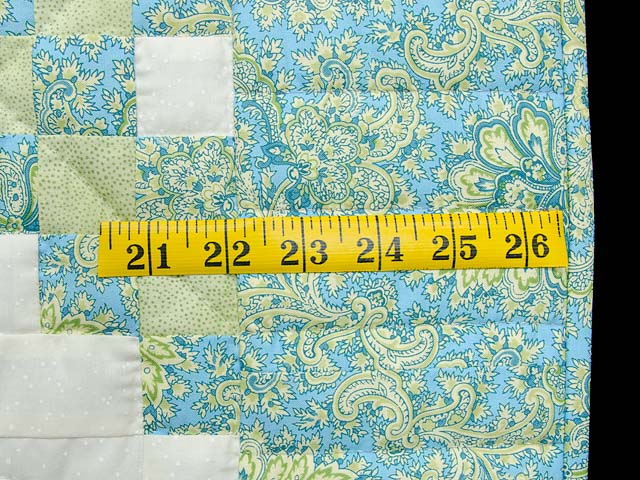 Blue Green and  Gold Irish Chain Quilt Photo 5