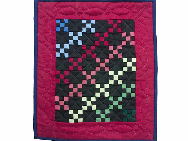 Miniature Amish Rainbow Nine Patch Quilt Photo 1