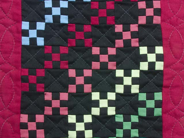 Miniature Amish Rainbow Nine Patch Quilt Photo 2