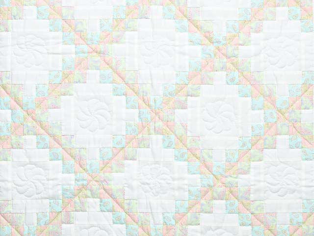 Soft Pink Aqua and Cream Irish Chain Crib Quilt Photo 2