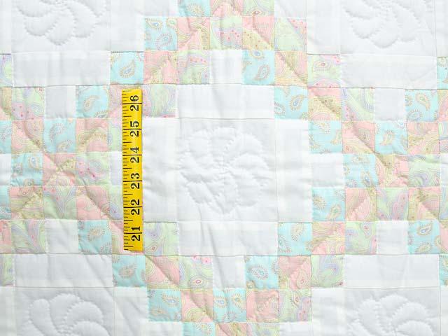 Soft Pink Aqua and Cream Irish Chain Crib Quilt Photo 3
