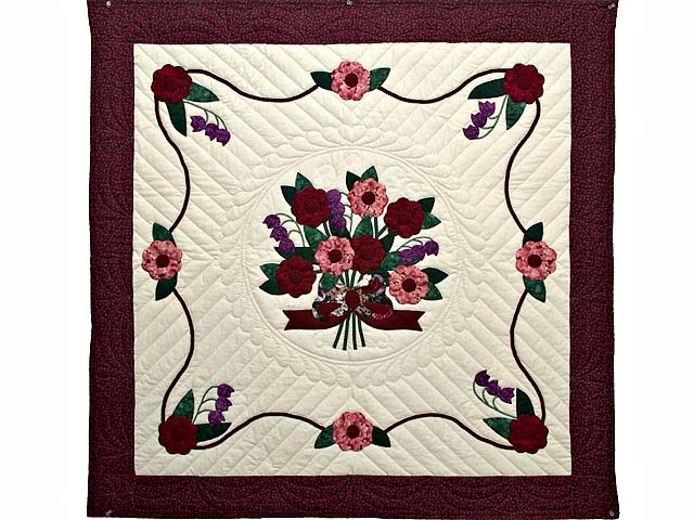 Rose Burgundy and Green Rose of Sharon Wall Hanging Photo 1