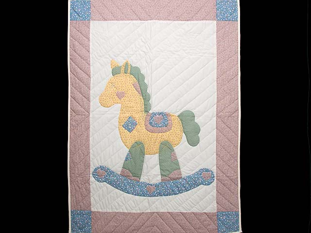Rosy Pink and Blue Rocking Horse Crib Quilt Photo 1