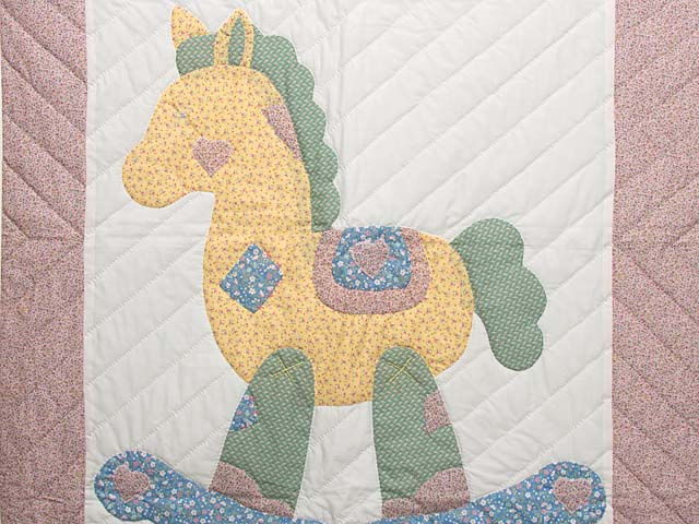 Rosy Pink and Blue Rocking Horse Crib Quilt Photo 2
