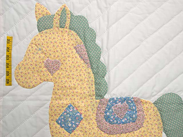 Rosy Pink and Blue Rocking Horse Crib Quilt Photo 3