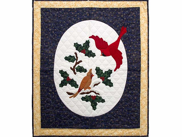Dark Blue and Gold Christmas Cardinals Applique Wall Hanging Photo 1