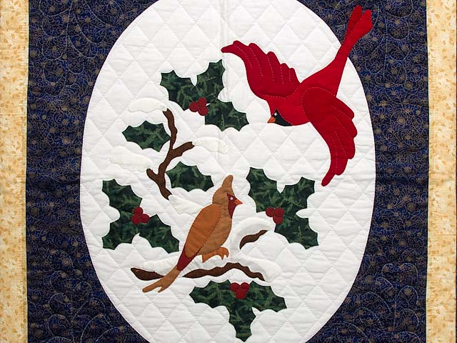 Dark Blue and Gold Christmas Cardinals Applique Wall Hanging Photo 2