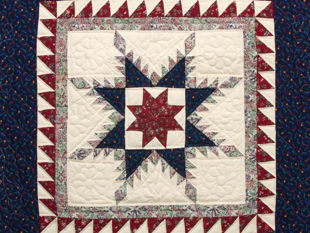 Navy and Burgundy Feathered Star Wall Hanging Photo 2