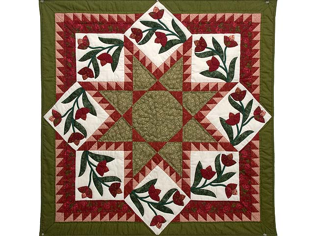 Red and Green Flowering Star Wall Hanging Photo 1