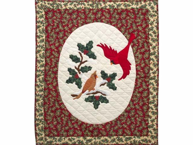 Green and Red Christmas Cardinals Applique Wall Hanging Photo 1