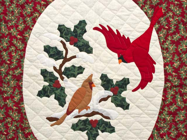 Green and Red Christmas Cardinals Applique Wall Hanging Photo 2