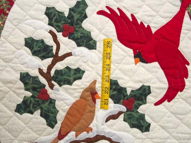 Green and Red Christmas Cardinals Applique Wall Hanging Photo 3