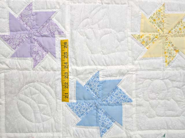 Pastel Pink and Multicolor Pinwheels Crib Quilt Photo 3