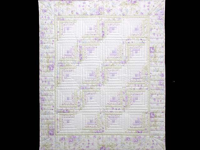 Misty Lilac and Green Log Cabin Crib Quilt Photo 1