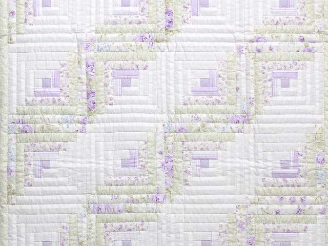 Misty Lilac and Green Log Cabin Crib Quilt Photo 2