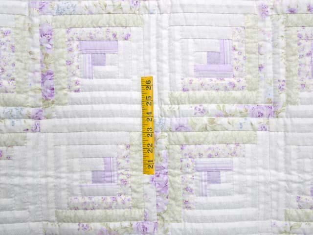 Misty Lilac and Green Log Cabin Crib Quilt Photo 3