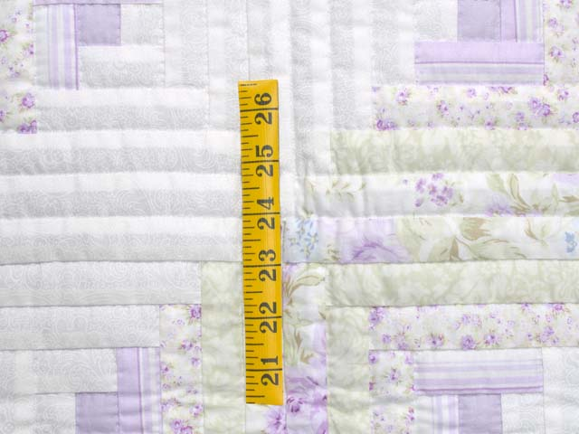 Misty Lilac and Green Log Cabin Crib Quilt Photo 4