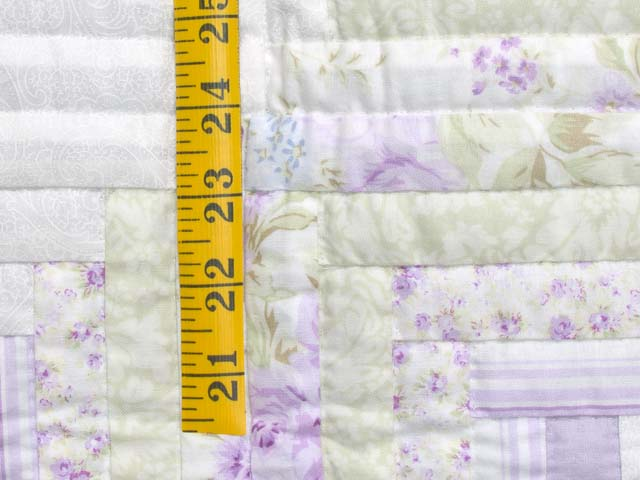 Misty Lilac and Green Log Cabin Crib Quilt Photo 5