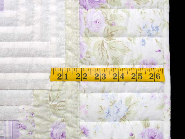 Misty Lilac and Green Log Cabin Crib Quilt Photo 6
