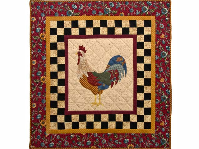 Flannel Barnyard Rooster Wall Hanging Photo 1