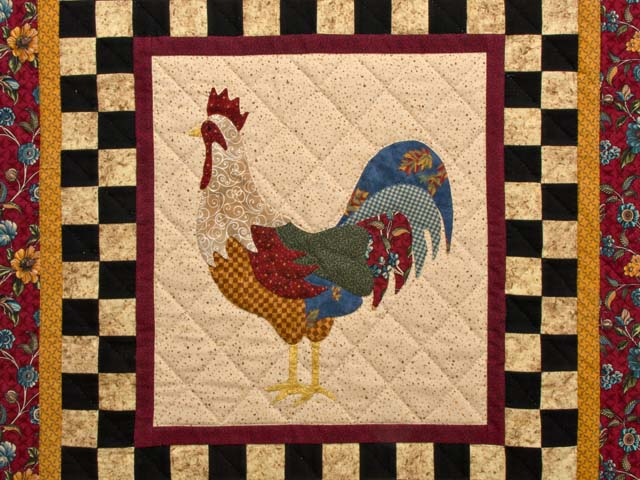Flannel Barnyard Rooster Wall Hanging Photo 2