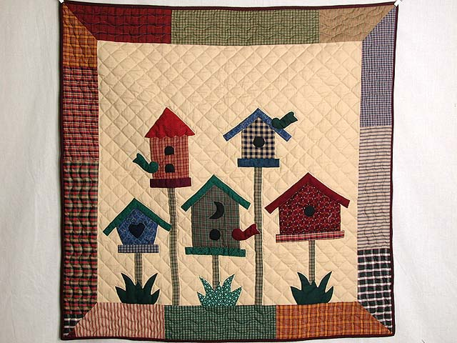 Tan and Multi Bird Houses Wall Hanging Photo 1