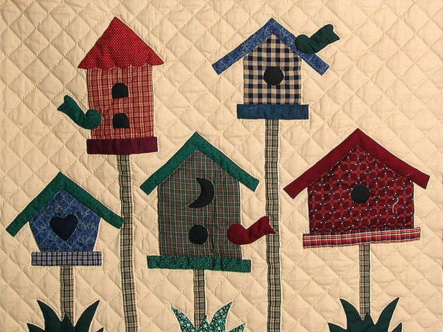 Tan and Multi Bird Houses Wall Hanging Photo 2