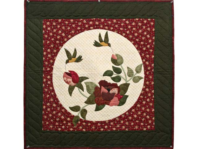 Dark Green and Burgundy Rose Garden Wall Hanging Photo 1