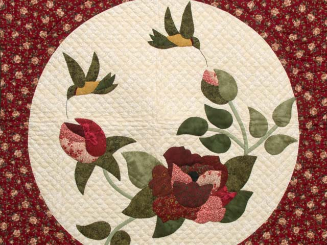 Dark Green and Burgundy Rose Garden Wall Hanging Photo 2