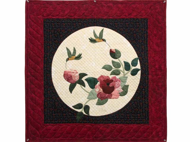 Burgundy and Navy Rose Garden Wall Hanging Photo 1