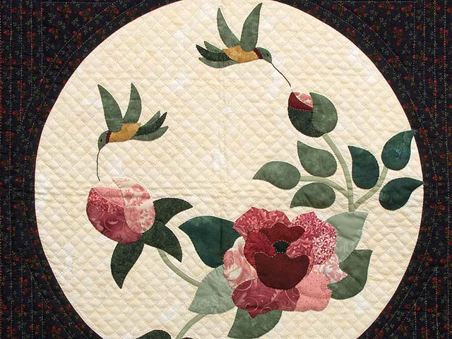 Burgundy and Navy Rose Garden Wall Hanging Photo 2