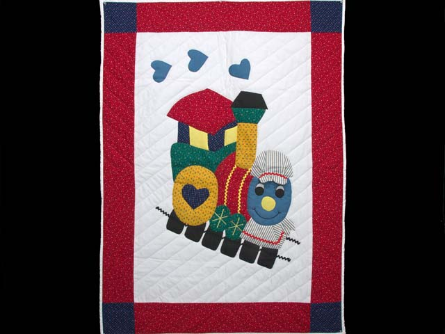 Bright Red and Blue Thomas Train Crib Quilt Photo 1