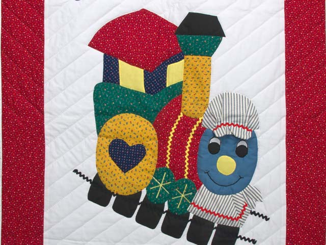 Bright Red and Blue Thomas Train Crib Quilt Photo 2
