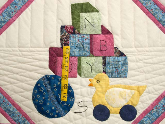 Blue and Pastel ABC Crib Quilt Photo 3