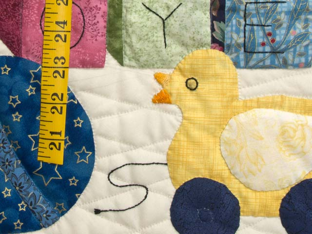 Blue and Pastel ABC Crib Quilt Photo 4