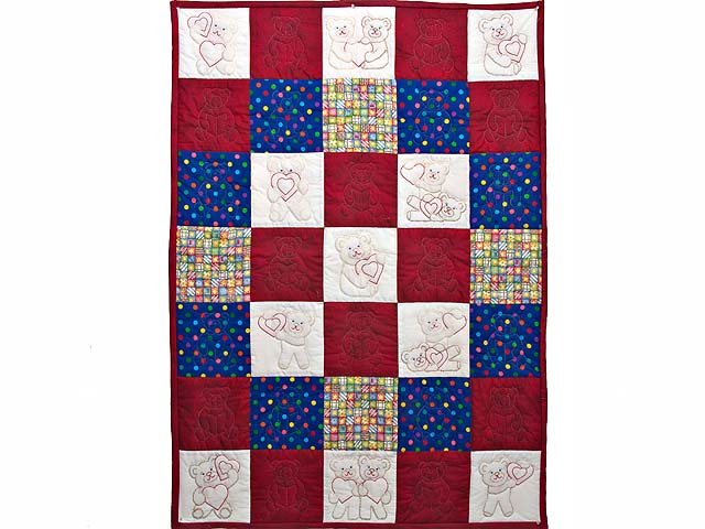 Red and Blue Embroidered Teddy Bears Crib Quilt Photo 1
