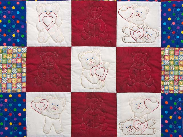 Red and Blue Embroidered Teddy Bears Crib Quilt Photo 2