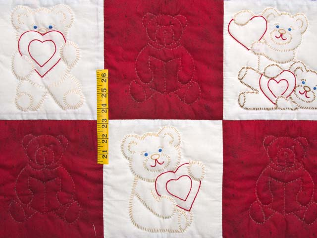 Red and Blue Embroidered Teddy Bears Crib Quilt Photo 3