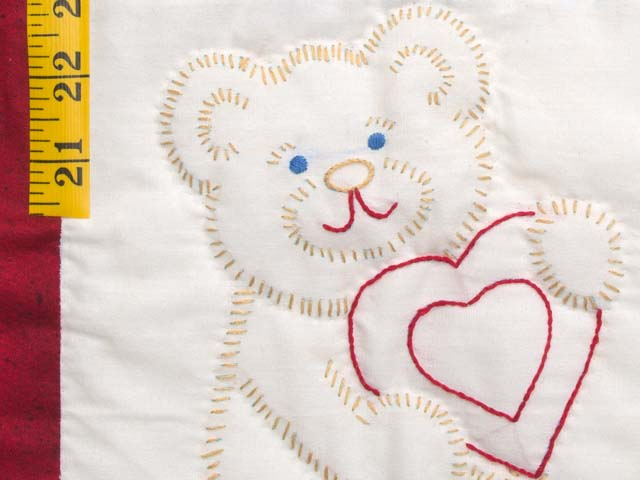 Red and Blue Embroidered Teddy Bears Crib Quilt Photo 4