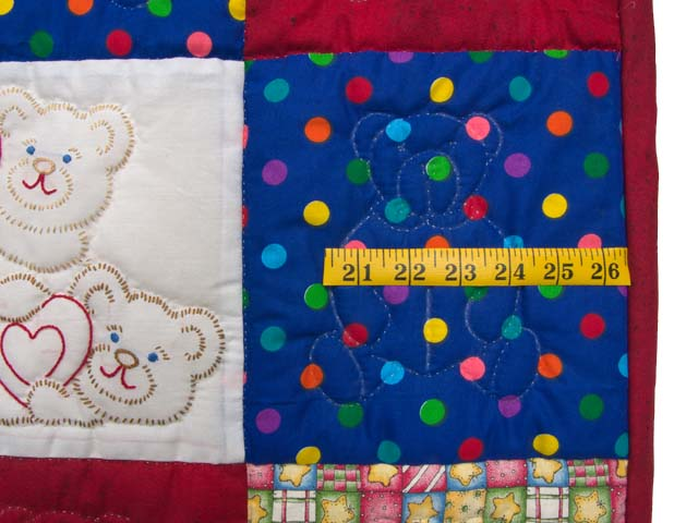 Red and Blue Embroidered Teddy Bears Crib Quilt Photo 5