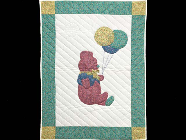 Green and Multicolor Party Bear Crib Quilt Photo 1