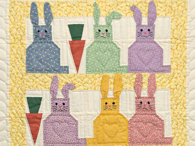 Yellow and Multicolor Floppy Eared Bunnies Crib Quilt Photo 2
