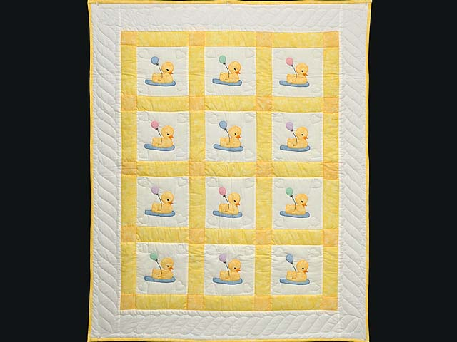 Yellow and Cream Lucky Ducks Crib Quilt Photo 1