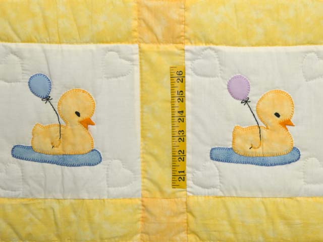 Yellow and Cream Lucky Ducks Crib Quilt Photo 3