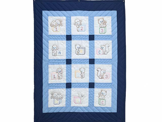 Navy Blue and Cream Cross Stitch Animals Crib Quilt Photo 1