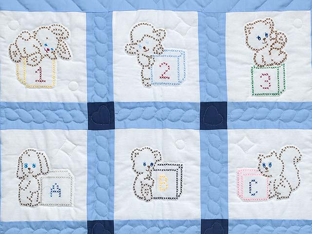 Navy Blue and Cream Cross Stitch Animals Crib Quilt Photo 2