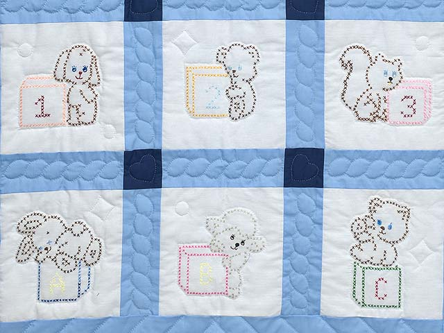Navy Blue and Cream Cross Stitch Animals Crib Quilt Photo 3